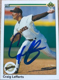 Craig Lefferts Signed 1990 Upper Deck Baseball Card - San Diego Padres