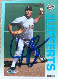 Craig Lefferts Signed 1992 Fleer Baseball Card - San Diego Padres