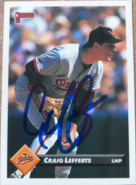 Craig Lefferts Signed 1993 Donruss Baseball Card - Baltimore Orioles