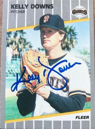 Kelly Downs Signed 1989 Fleer Baseball Card - San Francisco Giants