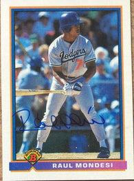 Raul Mondesi Signed 1991 Bowman Baseball Card - Los Angeles Dodgers
