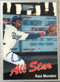 Raul Mondesi Signed 1991 Cal League All-Stars Baseball Card - Los Angeles Dodgers