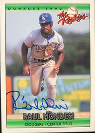 Raul Mondesi Signed 1992 Donruss Rookies Baseball Card - Los Angeles Dodgers