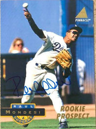 Raul Mondesi Signed 1994 Pinnacle Baseball Card - Los Angeles Dodgers
