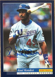 Raul Mondesi Signed 1994 Score Baseball Card - Los Angeles Dodgers