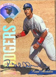 Raul Mondesi Signed 1995 Leaf Baseball Card - Los Angeles Dodgers