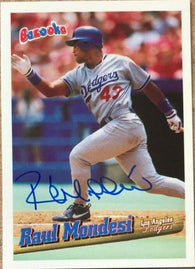 Raul Mondesi Signed 1996 Bazooka Baseball Card - Los Angeles Dodgers