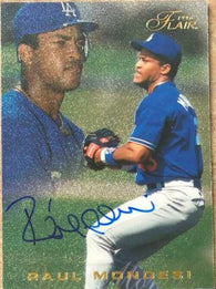 Raul Mondesi Signed 1996 Flair Baseball Card - Los Angeles Dodgers