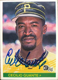 Cecilio Guante Signed 1984 Donruss Baseball Card - Pittsburgh Pirates