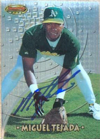 Miguel Tejada Signed 1997 Bowman's Best Baseball Card - Oakland A's
