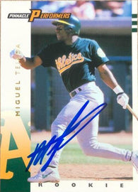 Miguel Tejada Signed 1998 Pinnacle Performers Baseball Card - Oakland A's