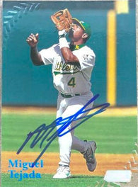 Miguel Tejada Signed 1998 Stadium Club Baseball Card - Oakland A's