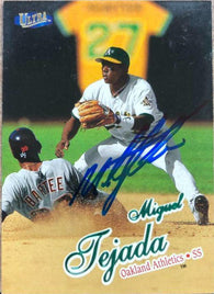 Miguel Tejada Signed 1998 Fleer Ultra Baseball Card - Oakland A's