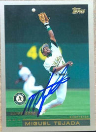 Miguel Tejada Signed 2000 Topps Baseball Card - Oakland A's