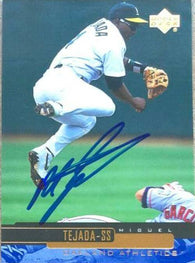 Miguel Tejada Signed 2000 Upper Deck Baseball Card - Oakland A's