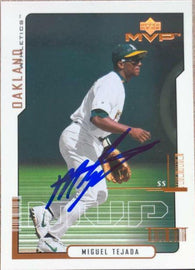 Miguel Tejada Signed 2000 Upper Deck MVP Baseball Card - Oakland A's