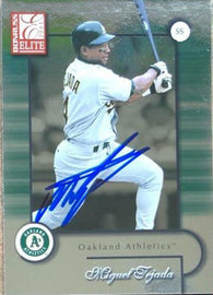 Miguel Tejada Signed 2001 Donruss Elite Baseball Card - Oakland A's