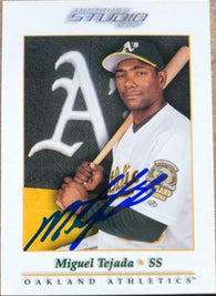 Miguel Tejada Signed 2001 Donruss Studio Baseball Card - Oakland A's