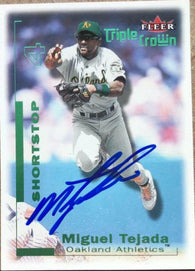 Miguel Tejada Signed 2001 Fleer Triple Crown Baseball Card - Oakland A's