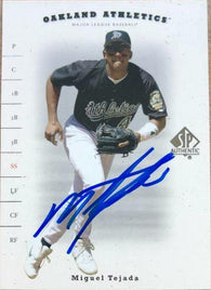 Miguel Tejada Signed 2001 SP Authentic Baseball Card - Oakland A's