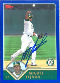 Miguel Tejada Signed 2003 Topps Baseball Card - Oakland A's