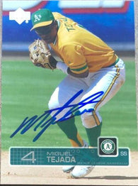Miguel Tejada Signed 2003 Upper Deck Baseball Card - Oakland A's