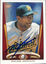 Miguel Tejada Signed 2002 Topps 206 Series 3 Baseball Card - Oakland A's