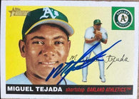 Miguel Tejada Signed 2004 Topps Heritage Baseball Card - Oakland A's
