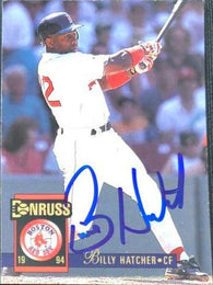 Billy Hatcher Signed 1994 Donruss Baseball Card - Boston Red Sox
