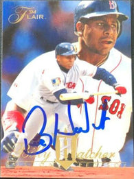 Billy Hatcher Signed 1994 Flair Baseball Card - Boston Red Sox