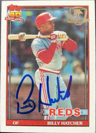 Billy Hatcher Signed 1991 Topps Desert Shield Baseball Card - Cincinnati Reds