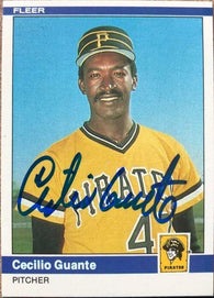 Cecilio Guante Signed 1984 Fleer Baseball Card - Pittsburgh Pirates