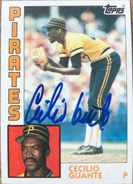 Cecilio Guante Signed 1984 Topps Baseball Card - Pittsburgh Pirates