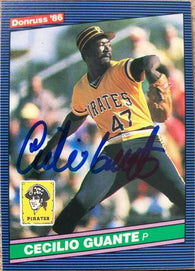 Cecilio Guante Signed 1986 Donruss Baseball Card - Pittsburgh Pirates
