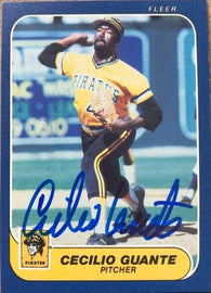 Cecilio Guante Signed 1986 Fleer Baseball Card - Pittsburgh Pirates