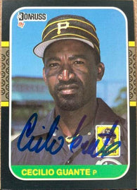 Cecilio Guante Signed 1987 Donruss Baseball Card - Pittsburgh Pirates