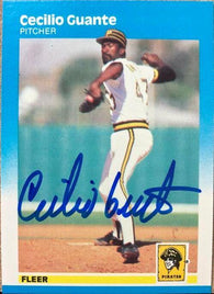 Cecilio Guante Signed 1987 Fleer Baseball Card - Pittsburgh Pirates