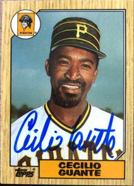 Cecilio Guante Signed 1987 Topps Tiffany Baseball Card - Pittsburgh Pirates