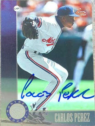 Carlos Perez Signed 1996 Leaf Baseball Card - Montreal Expos - PastPros