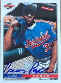 Carlos Perez Signed 1996 Score Baseball Card - Montreal Expos - PastPros