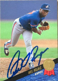 Mel Rojas Signed 1993 Leaf Baseball Card - Montreal Expos - PastPros