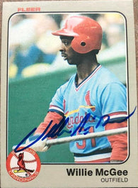 Willie McGee Signed 1983 Fleer Baseball Card - St Louis Cardinals - PastPros
