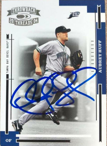 Aubrey Huff Signed 2004 Donruss Throwback Threads Baseball Card - Tampa Bay Devil Rays