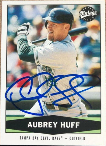 Aubrey Huff Signed 2004 Upper Deck Vintage Baseball Card - Tampa Bay Devil Rays