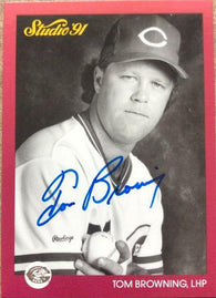 Tom Browning Signed 1991 Studio Baseball Card - Cincinnati Reds