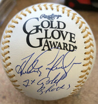 Andres Galarraga Signed Rawlings Official Gold Glove Baseball w/Insc