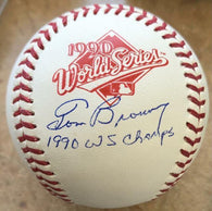 Tom Browning Signed 1990 World Series Rawlings Baseball w/Inscription