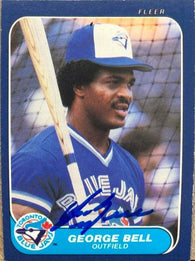George Bell Signed 1986 Fleer Baseball Card - Toronto Blue Jays