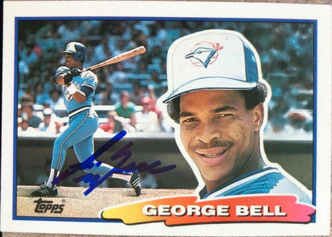 George Bell Signed 1988 Topps Big Baseball Card - Toronto Blue Jays