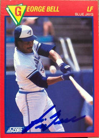 George Bell Signed 1989 Score Hottest 100 Players Baseball Card - Toronto Blue Jays